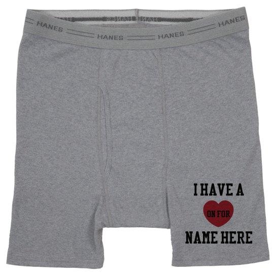 Custom Valentines Day Boxers Heather Grey Boxer Brief Underwear