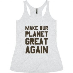 Make our planet great again brown junior tank top.