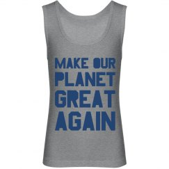 Make our planet great again blue kids tank top.