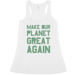 Make our planet great again light green women's tank to