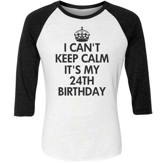 24th Birthday Unisex 3 4 Sleeve Raglan Eco Jersey T Shirt Funny Shirts