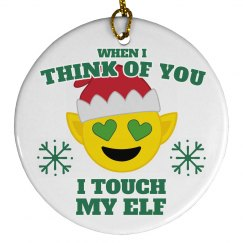 Touch My Elf Emoji Ornament