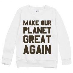 Make our planet great again brown kids sweatshirt.