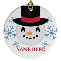 Custom Snowman Emoji Ornament