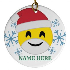 Custom Santa Emoji Ornament