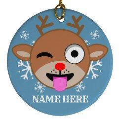 Custom Reindeer Emoji Ornament