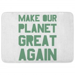 Make our planet great again light green bath rug.