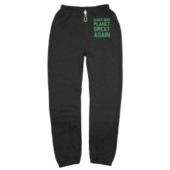 Make our planet great again light green sweatpants.