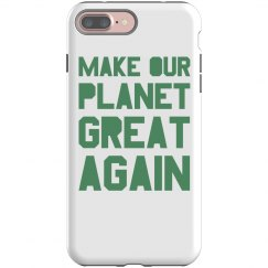 Make our planet great again light green phone case.