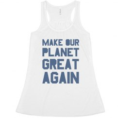 Make our planet great again blue women's tank top.