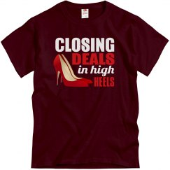 Closing Deals In High Heels Adult Unisex Basic Tee