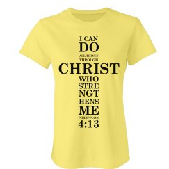Women's T-Shirt with Full Philippians 4:13 Scripture