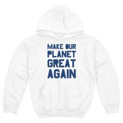 Make our planet great again blue kids hoodie.