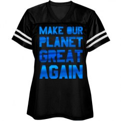 Make our planet great again blue metallic shirt.