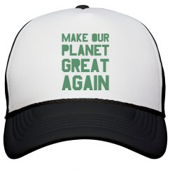 Make our planet great again light green hat.