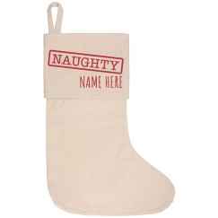 Naughty Xmas Canvas Stocking
