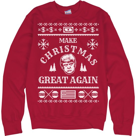 Donald Trump Ugly Christmas Sweater.Make Xmas Great Again Ugly Sweater
