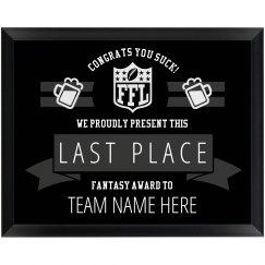 Custom Text Fantasy Football Last Place Loser Award