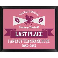 Custom Fantasy Football Loser Award For Last Place
