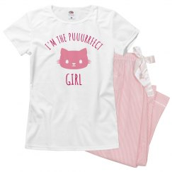 Funny Puuurrfect Girl PJ Set