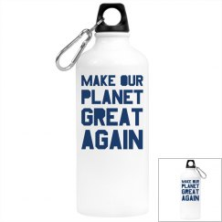 Make our planet great again blue water bottle.
