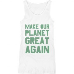 Make our planet great again light green maternity tank.