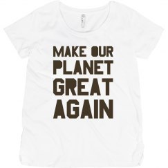 Make our planet great again brown maternity shirt.