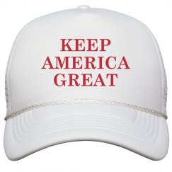 Keep America Great Red Design On White Cap