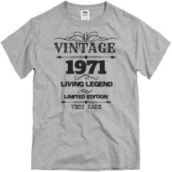 Vintage 1971 living legend very rare birthday shirt