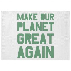 Make our planet great again light green dobby rug.