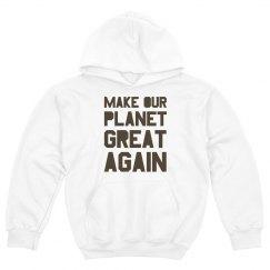 Make our planet great again brown kids hoodie.
