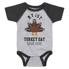My First Custom Turkey Day Bodysuit
