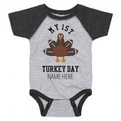 My First Custom Turkey Day Bodysuit