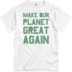Make our planet great again light green men's shirt.