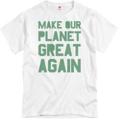 Make our planet great again light green men's shirt.