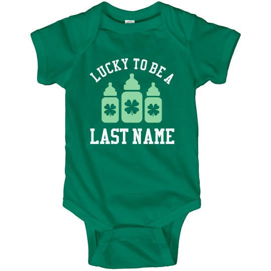 ccfe6ddac894b Custom St Pattys Last Name Baby Infant Fine Jersey Bodysuit