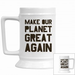 Make our planet great again brown stein cup.