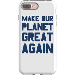 Make our planet great again blue phone case.