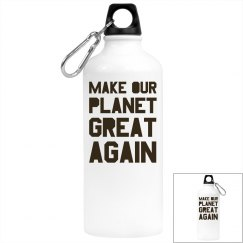 Make our planet great again brown water bottle.