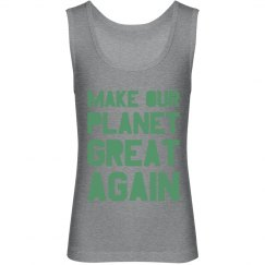 Make our planet great again light green kids tank top.