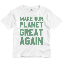 Make our planet great again light green kids shirt.