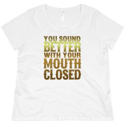 Mouth Closed Scoop Neck Plus Size Tee