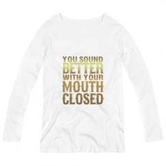 Mouth Closed Maternity Long Sleeve Tee