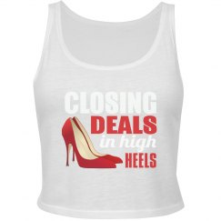 Closing Deals In High Heels Cropped Tank