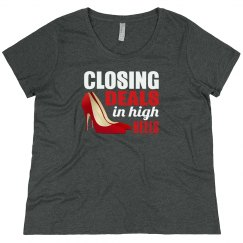 Closing Deals In High Heels Scoop Neck Plus Size Tee