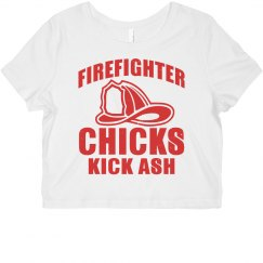 Firefighter Chicks Kick Ash Crop Tee