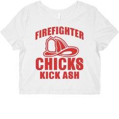 Firefighter Chicks Kick Ash Crop Tee