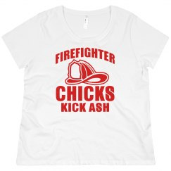 Firefighter Chicks Kick Ash Scoop Neck Plus Size Tee