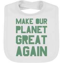 Make our planet great again light green bib.