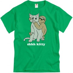 Shhh Kitty Sloth Hug Cat